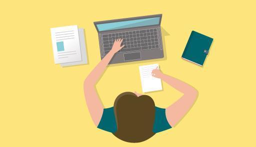 figura maschile stilizzata mentre lavora al computer