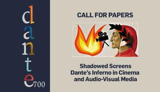 """Immagine stilizzante di Dante e di una cinepresa e testo """"Call for papers - Shadowed screens Dante's Inferno in Cinema and Audiovisual Media"""