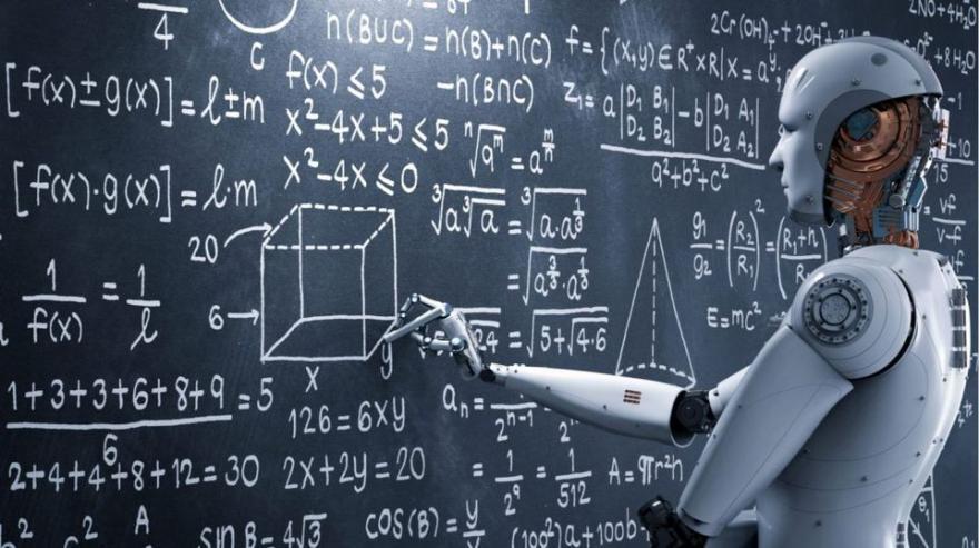 immagine di un robot che scrive alla lavagna