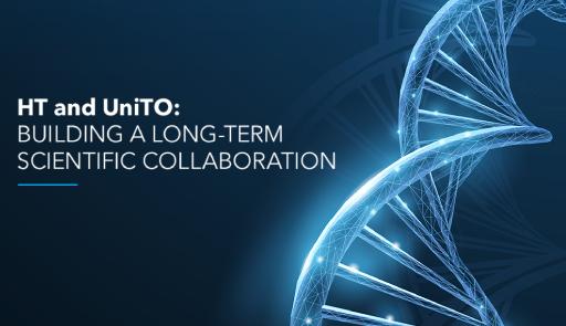 frammento di DNA e testo: 'HT and UniTO - Building a long-term scientific collaboration