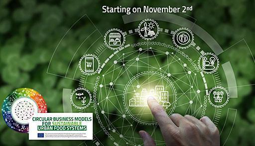 Grafica sui toni del verde con il simbolo del Circular Business Model