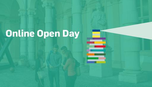 Immagine stilizzata con testo: Online Open Day: Study in English at UniTo