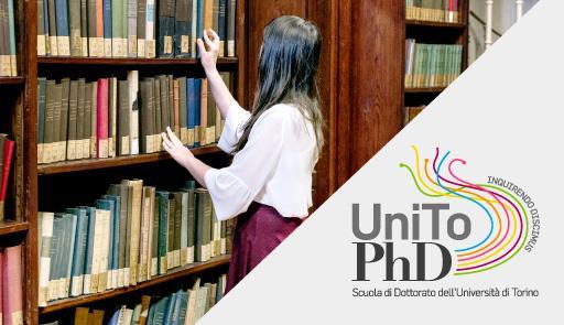 Immagine di una ragazza in biblioteca e logo della Scuola di dottorato