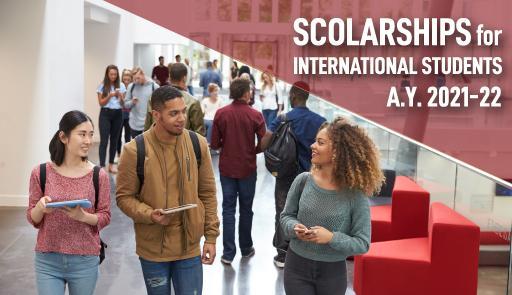 """immagini di due ragazzi sorridenti e testo """"Scholarships for international students a.y. 2021-2022"""""""