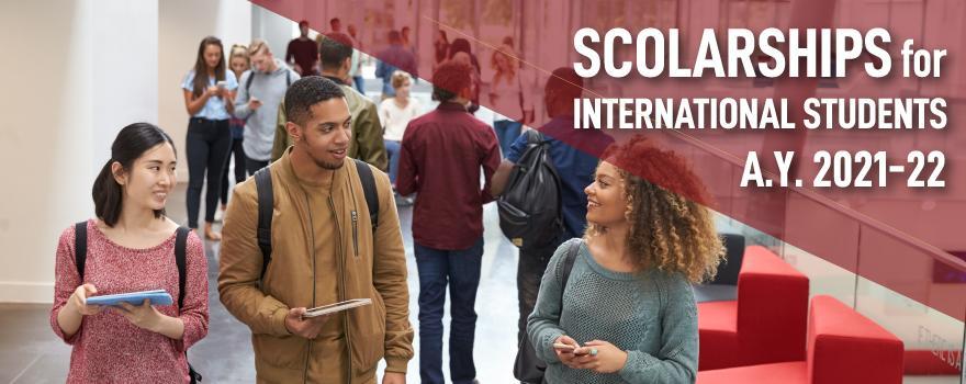 """immagine di due ragazzi sorridenti e testo """"Scholarships for international students a.y. 2021-2022"""""""
