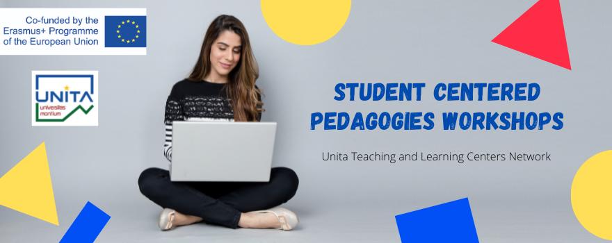 immagine di una ragazza al pc e testo Student Centered Pedagogies Workshops